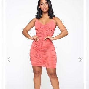 Fashion nova  Wiley Ruched Mini Dress - Coral